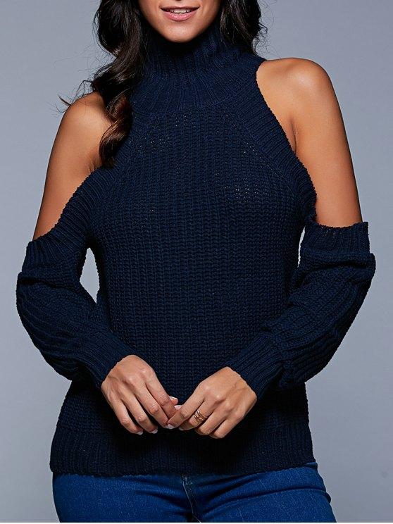 Párese suéter de cuello del hombro frío - Azul Purpúreo Única Talla