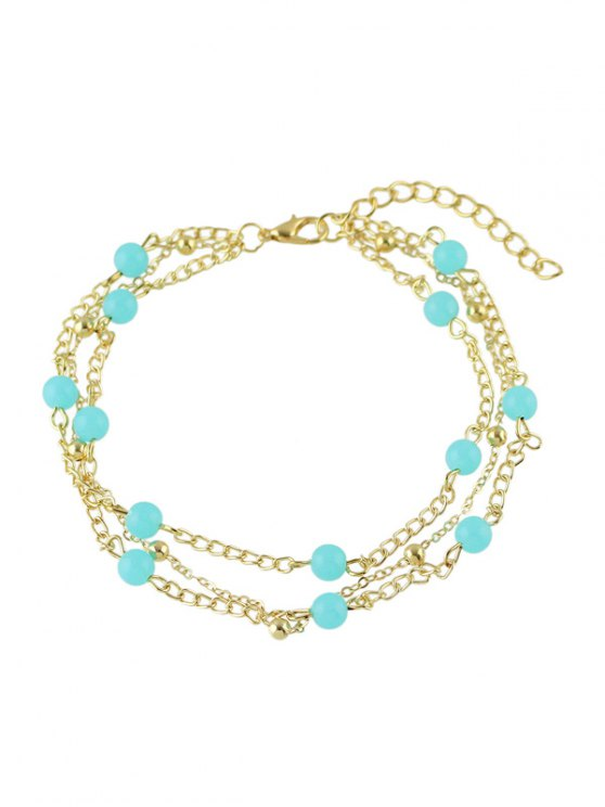 fancy Bohemian Beaded Layered Anklet - GOLDEN