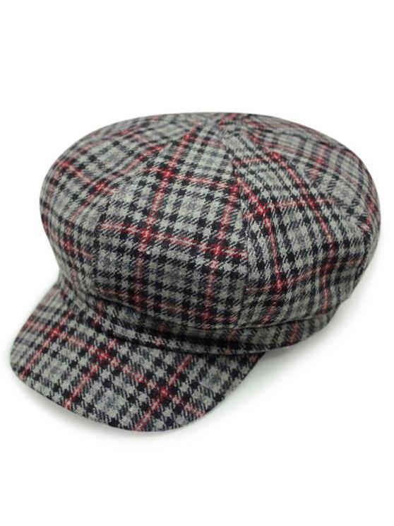 Houndstooth vichy Newsboy Hat - Gris