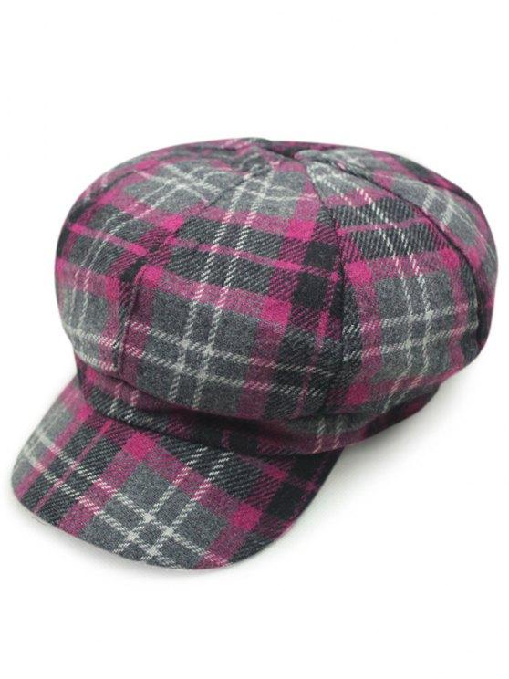 Tartan Newsboy Hat - ROSE RED  Mobile