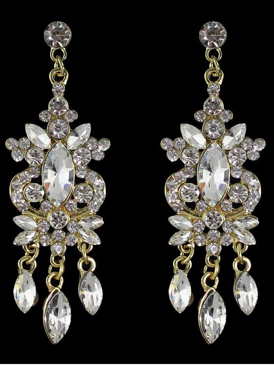 Los pendientes de gota en capas de imitación de la gema del Rhinestone - Dorado