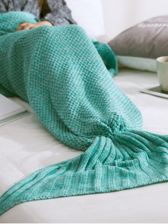 Warmth Knitted Mermaid Tail Blanket - MINT GREEN L Mobile