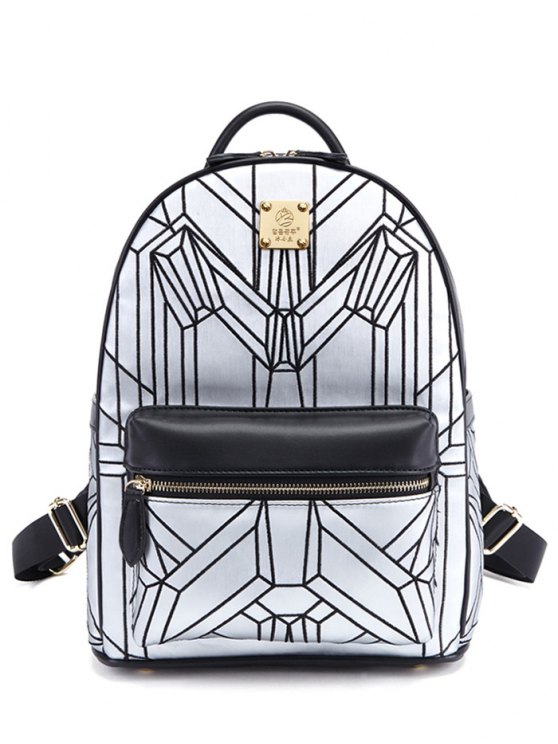 Embroidery Geometric Pattern PU Leather Backpack - SILVER AND BLACK  Mobile