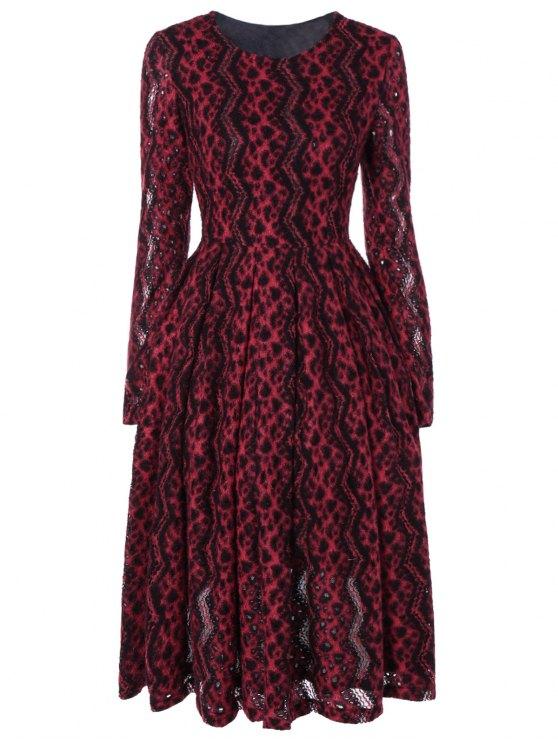 Chevron raya de manga larga vestido térmica - Rojo M