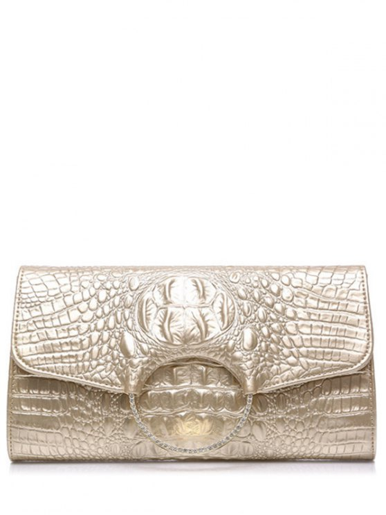 Rhinestones Embossing Magnetic Closure Evening Bag - Champagne Oro