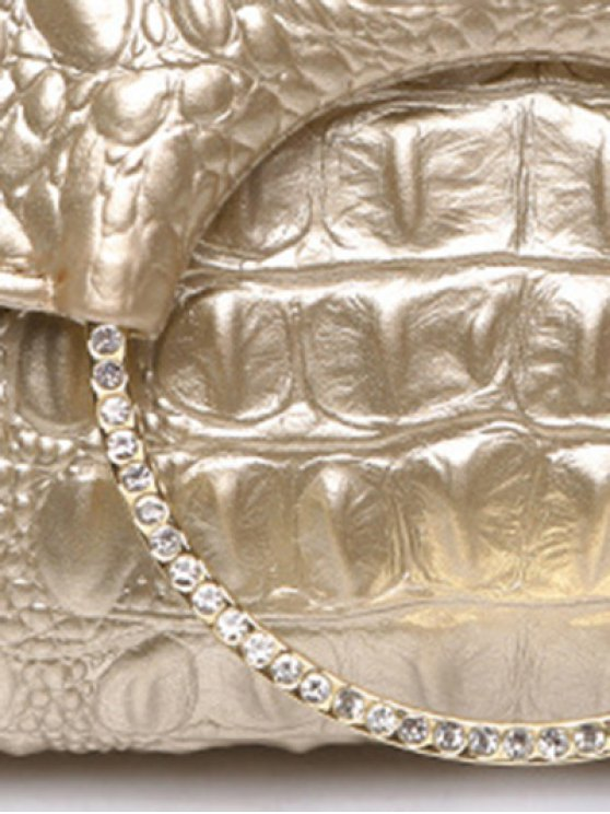 Rhinestones Embossing Magnetic Closure Evening Bag - CHAMPAGNE GOLD  Mobile