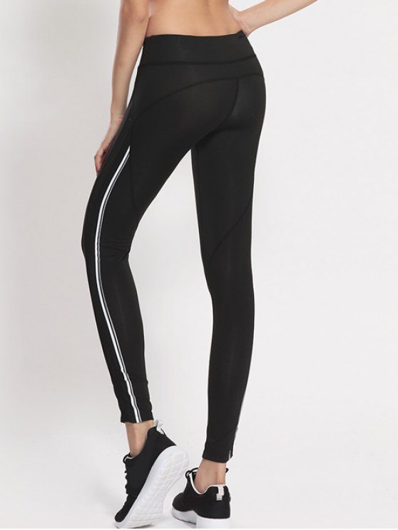 Mesh Panel Active Leggings - WHITE AND BLACK M Mobile