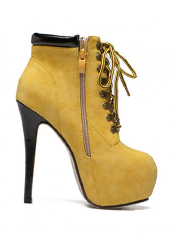 Platform Stiletto Heel Lace-Up Ankle Boots - YELLOW 40 Mobile
