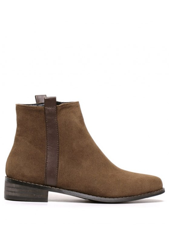 Rounde Toe Side Zip Suede Boots - BROWN 38 Mobile