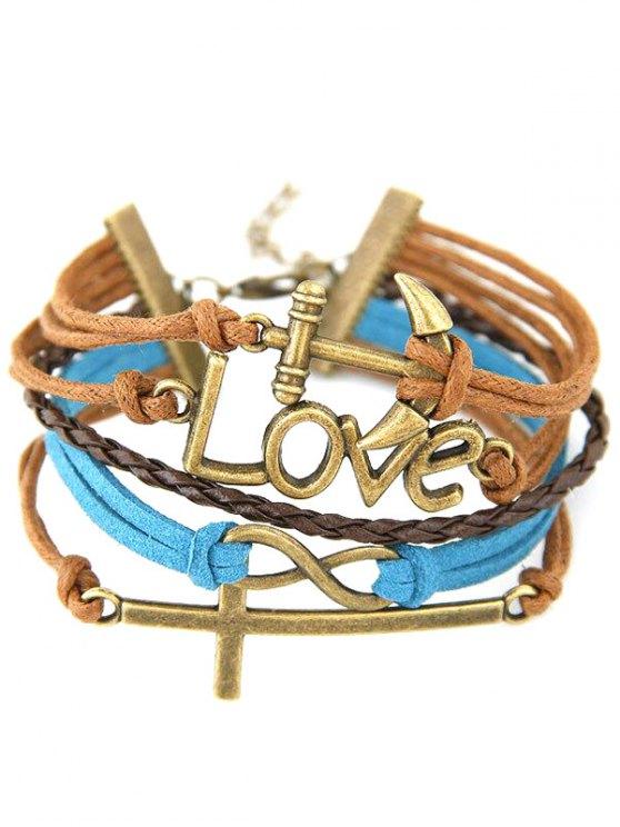 Cross Anchor Braided Bracelet -   Mobile
