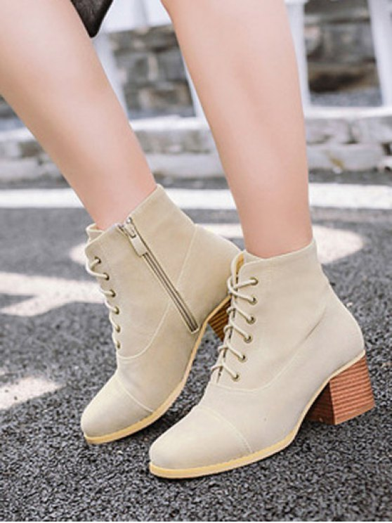Suede Square Toe Chunky Heel Boots - APRICOT 39 Mobile