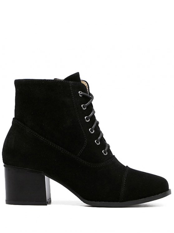Suede Square Toe Chunky Heel Boots - BLACK 38 Mobile