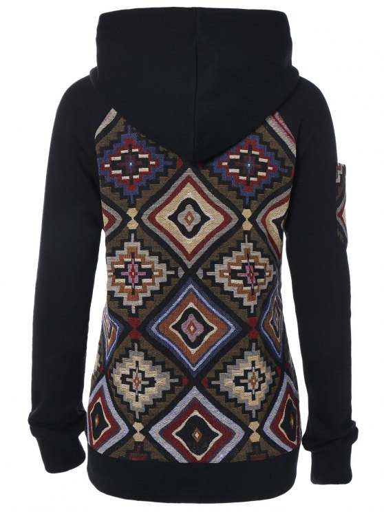 Geometric Pattern Pullover Hoodie - COLORMIX M Mobile