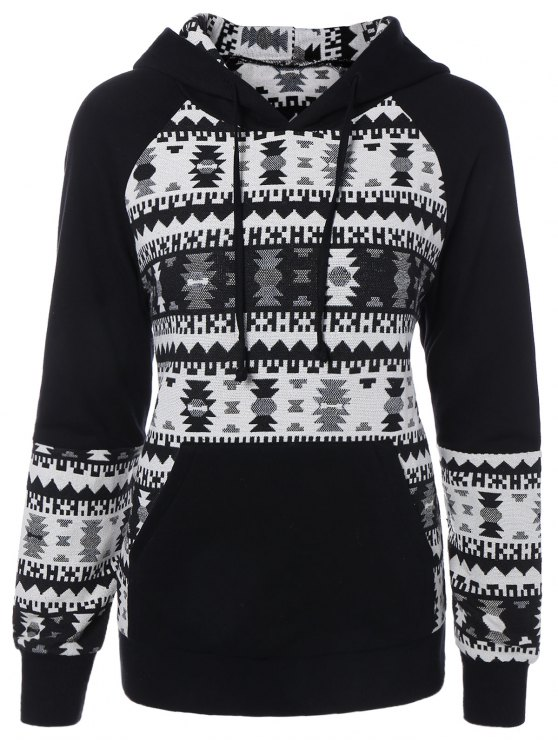 lady Front Pocket Jacquard Pullover Hoodie - WHITE AND BLACK L