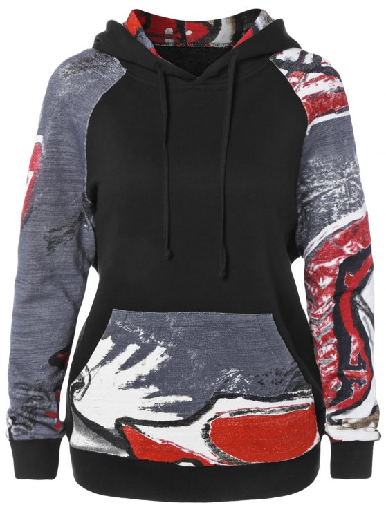 outfit Front Pocket Printed Pullover Hoodie - BLACK M