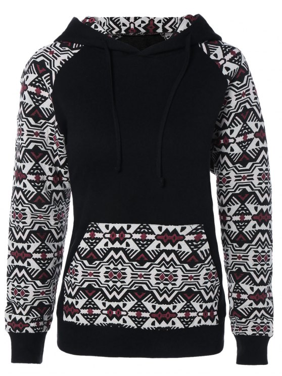 chic Pullover Front Pocket Hoodie - BLACK AND WHITE AND RED L