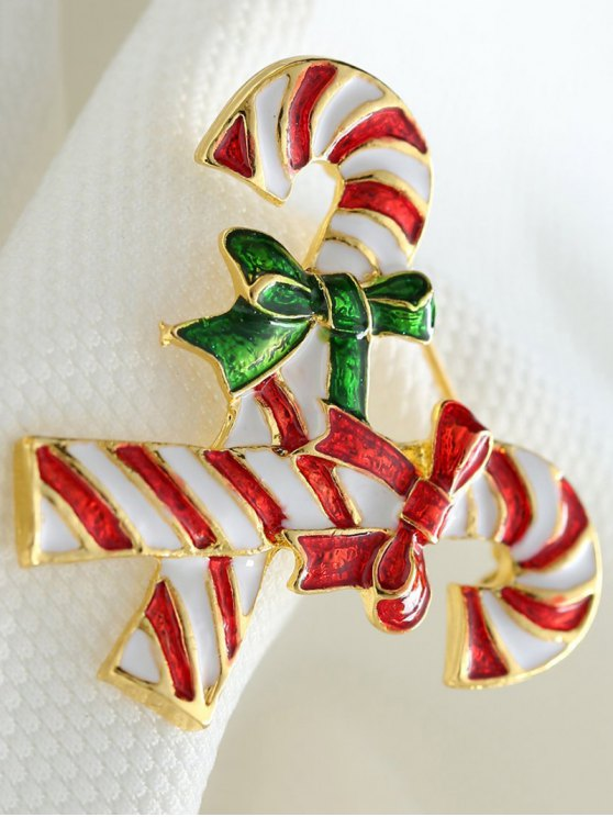 Alloy Bows Candy Cane Christmas Brooch -   Mobile