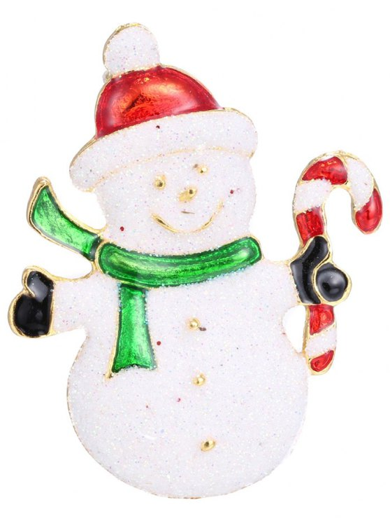 Alloy Christmas Candy Cane Snowman Brooch -   Mobile