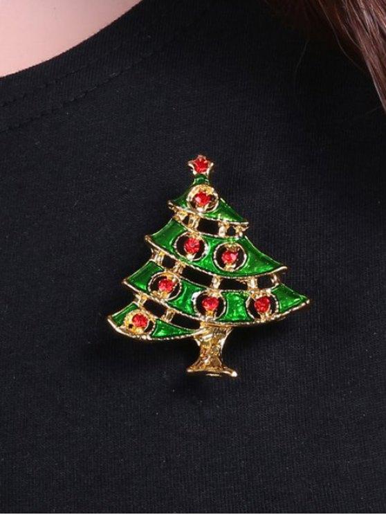 Rhinestone Pentagram Alloy Christmas Tree Brooch -   Mobile