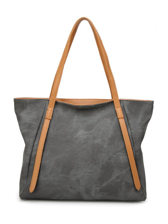 unique PU Leather Stitching Zip Shoulder Bag - DEEP GRAY