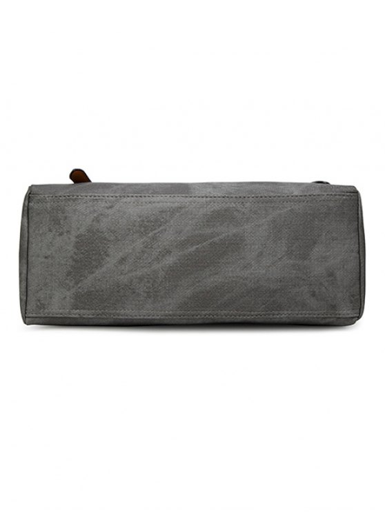 PU Leather Stitching Zip Shoulder Bag - DEEP GRAY  Mobile
