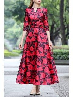 Three Quarter Sleeve Print Maxi Dress - Red S