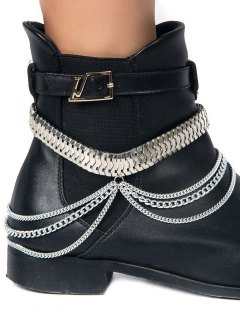 Multifunctional Snake Chain Layered Boot Anklet - Silver