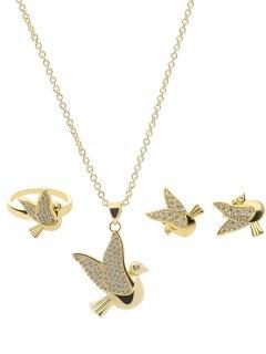 مجموعة مجوهرات حجر الراين الطيور - ذهبي
