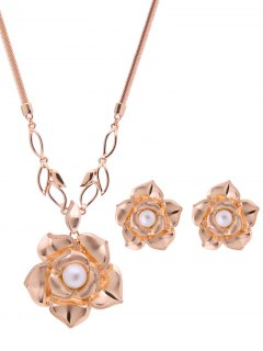 Faux Pearl Flower Jewelry Set - Rose Gold