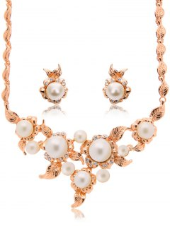 Faux Pearl Flower Leaf Jewelry Set - Rose Gold