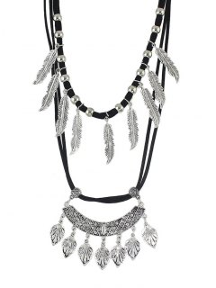 Vintage Alloy Feather Tree Leaf Layered Necklace - Silver