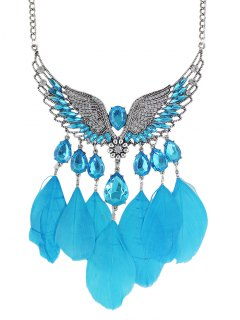Angel Wings Water Drop Feather Necklace - Light Blue