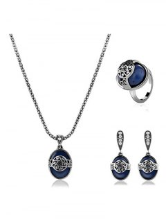 Engraved Flower Faux Sapphire Jewelry Set - Blue One-size