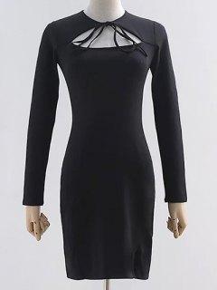 Cut Out Long Sleeve Slit Dress - Black M