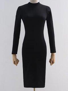 Back Cutout Pencil Dress - Black S