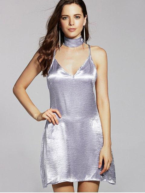Robe caraco en satin de couleur pure - Argent L Mobile