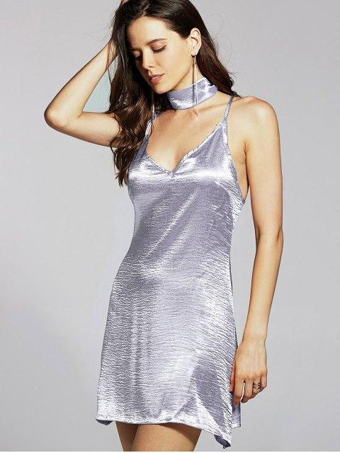 best Pure Color Cami Satin Dress - SILVER M Mobile