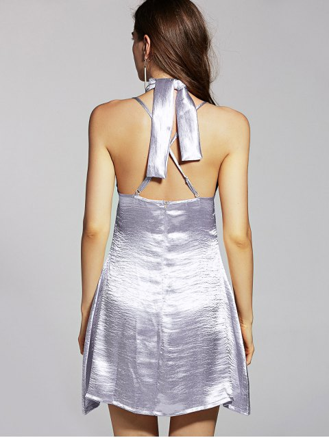 online Pure Color Cami Satin Dress - SILVER S Mobile