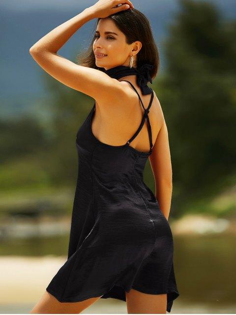 new Pure Color Cami Satin Dress - BLACK XL Mobile