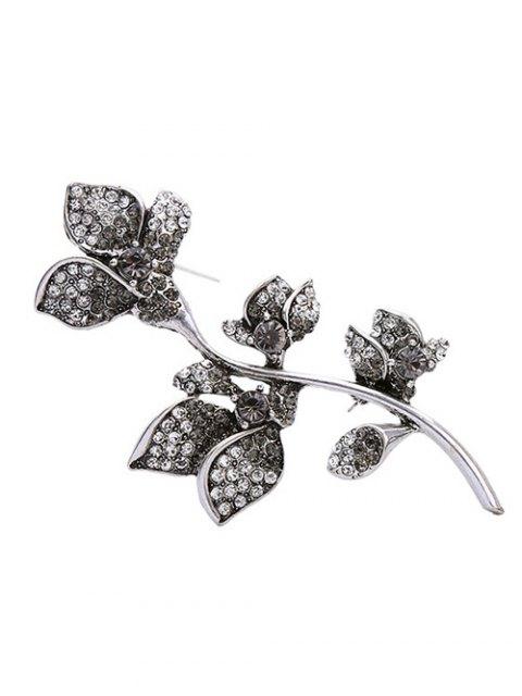 women Rhinestone Design Floral Brooch - SILVER  Mobile
