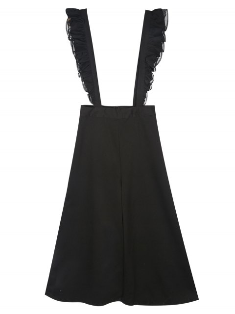 hot Flounced Culotte Overalls - BLACK S Mobile