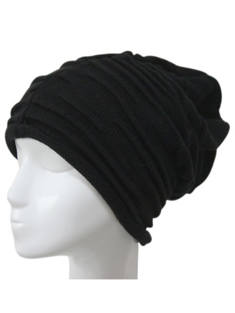 women Casual Ruched Knitted Hat - BLACK  Mobile