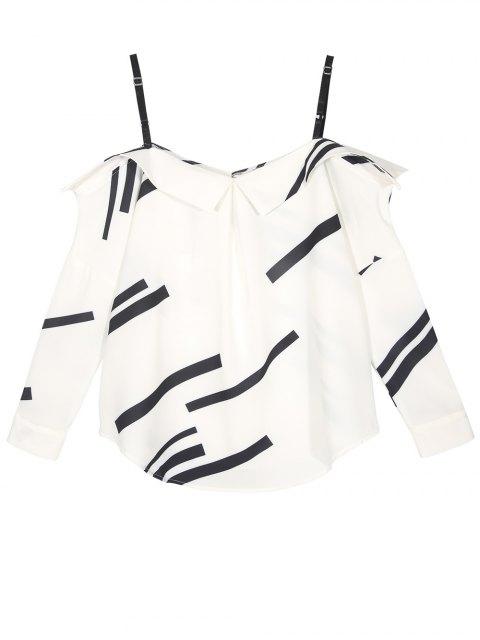 women Long Sleeve Color Block Cold Shoulder Blouse - WHITE XL Mobile