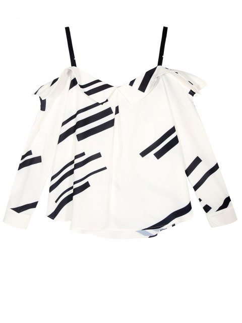 lady Long Sleeve Color Block Cold Shoulder Blouse - WHITE S Mobile