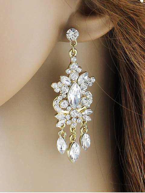 fashion Faux Gem Rhinestone Layered Drop Earrings - GOLDEN  Mobile