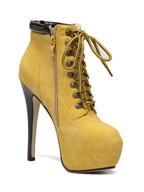 lady Platform Stiletto Heel Lace-Up Ankle Boots - YELLOW 40 Mobile