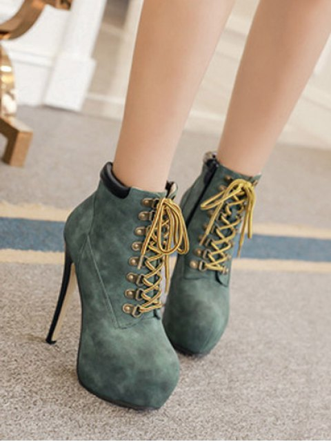 trendy Platform Stiletto Heel Lace-Up Ankle Boots - BLACKISH GREEN 38 Mobile