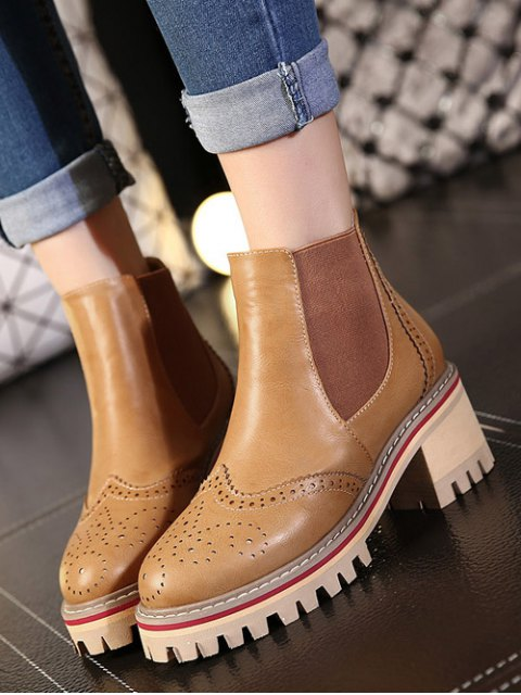 shop Vintage Engraving Chunky Heel Boots - LIGHT BROWN 39 Mobile