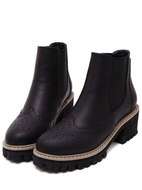 trendy Vintage Engraving Chunky Heel Boots - BLACK 39 Mobile