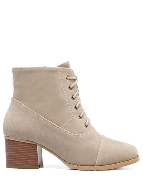 sale Suede Square Toe Chunky Heel Boots - APRICOT 38 Mobile